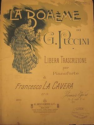 """LA BOHÈME"""" DI GIACOMO PUCCINI (1896). Spartito originale con coperta illustrata in ..."""