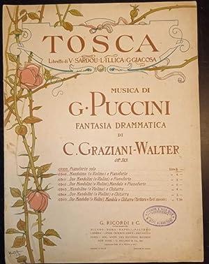 """TOSCA"""" DI GIACOMO PUCCINI (1900). Spartito originale con coperta illustrata in policromia da ..."""