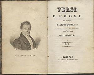 VERSI E PROSE. Con correzioni ed aggiunte dell'Autore. 1831-1832.: PANANTI Filippo.