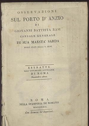 """OSSERVAZIONI SUL PORTO D'ANZIO. Estratte dall'""""Effemeridi Letterarie di Roma"""", ..."""