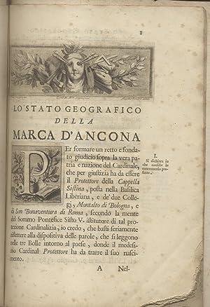 LO STATO GEOGRAFICO DELLA MARCA D'ANCONA DESCRITTO: GASPARRI Francesco Maria.