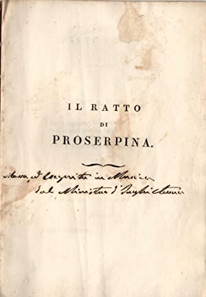 IL RATTO DI PROSERPINA (1790). Favola per musica di Mattia Butturini (o Botturini) da eseguirsi ...