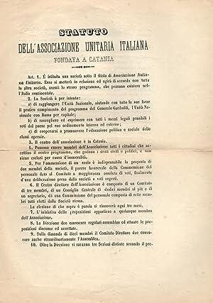 STATUTO DELL'ASSOCIAZIONE UNITARIA ITALIANA FONDATA A CATANIA. 30 settembre 1861.