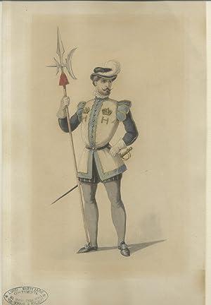 """Figurino originale per un costume delle """"guardie"""" nell'opera """"Don Carlo"""" ..."""