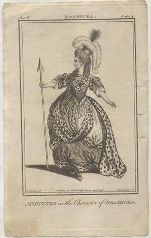 Incisione raffigurante Maria Hunter nel ruolo di Boadicea nell'omonima tragedia teatrale di ...