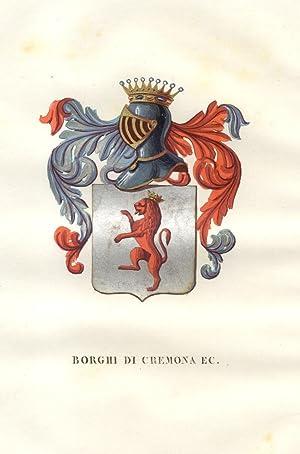 """BORGO DI CREMONA. Fascicolo genealogico tratto da """"Teatro araldico, ovvero Raccolta generale ..."""
