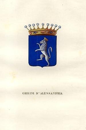 """GHILLINI DI ALESSANDRIA. Fascicolo genealogico tratto da """"Teatro araldico, ovvero Raccolta ..."""