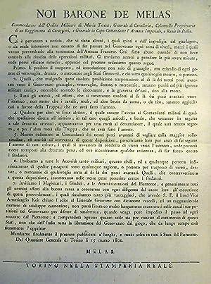 Bando ufficiale promulgato da Torino il 15 marzo 1800 dal Barone Michael Benedickt von Melas, ...