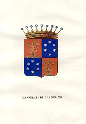 """MASSERATI DI CARIGNANO. Fascicolo genealogico tratto da """"Teatro araldico, ovvero Raccolta ..."""
