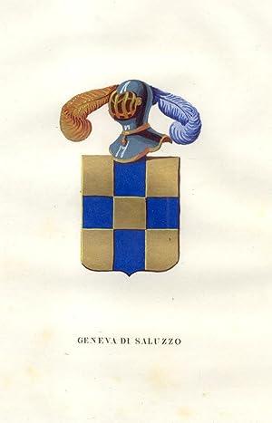 """GENEVA DI SALUZZO. Fascicolo genealogico tratto da """"Teatro araldico, ovvero Raccolta generale ..."""