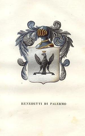 """BENEDETTO E DE BENEDETTI DI PALERMO. Fascicolo genealogico tratto da """"Teatro araldico, ovvero ..."""