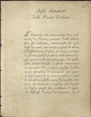 AGLI AMATORI DELLA POESIA ITALIANA. (1784).