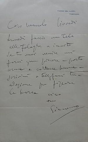 Lettera autografa inviata da Giacomo Puccini ad Emanuele Ricordi, non datata ma con timbro postale ...
