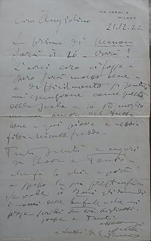 Lettera autografa inviata da Giacomo Puccini all'amico Angelo Magrini, non datata ma con ...