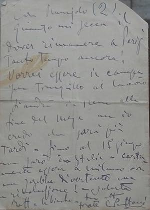 Lettera autografa inviata da Giacomo Puccini e della moglie Elvira Bonturi alla sorella del Maestro...