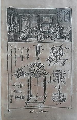 """FIL ET LAINE. Cinque tavole tratte da """"Planches pour l'""""Encyclopédie ou pour ..."""