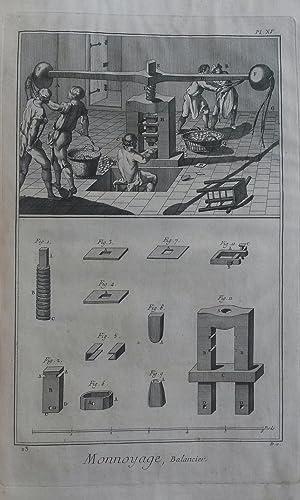 """MONNOYAGE. 19 tavole tratte da """"Planches pour l'""""Encyclopédie ou pour Le ..."""