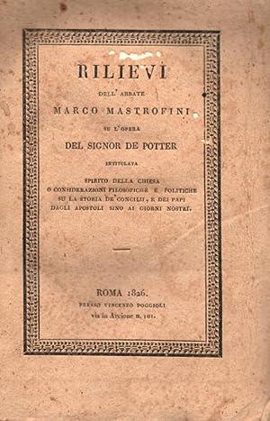 """RILIEVI SU L'OPERA DEL SIG. POTTER. Intitolata """"Spirito della Chiesa o Considerazioni ..."""