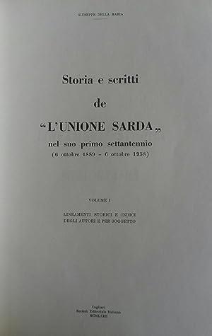 """STORIA E SCRITTI DE """"L'UNIONE SARDA"""", 6 ottobre 1889 - 6 ottobre 1958.: Della MARIA ..."""