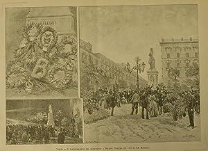 L'INAUGURAZIONE DEL MONUMENTO A BELLINI A NAPOLI. Xilografia raffigurante alcune scene della ...