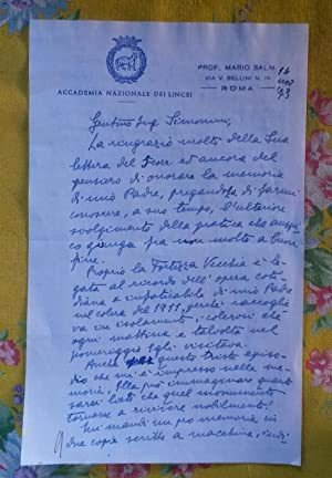 Due lunghe lettere autografe del critico d'arte Mario Salmi (San Giovanni Valdarno, 1889-1980)...