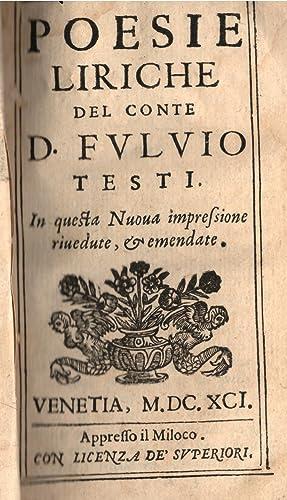 POESIE LIRICHE DEL CONTE D. FULVIO TESTI.: TESTI Fulvio.