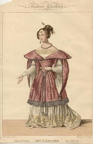 Incisione originale raffigurante la cantante lirica Mademoiselle Casimir, pseudonimo di Marie ...