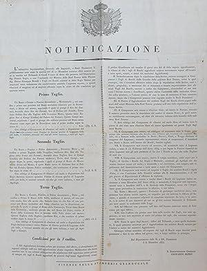 Notificazione pubblica del Soprintendente Generale alle Imperiali e Reali Possessioni di Toscana in...