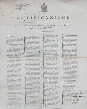 Notificazione alla vendita per pubblico Incanto di sette tagli ordinari di Boschi e Piante ...