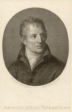 Incisione raffigurante il bibliofilo e poeta satirico Angiolo Maria D'Elci (Firenze, 1754-1824...