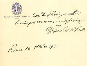 Biglietto autografo firmato del botanico Pietro Romualdo Pirrotta (Pavia, 1853-1936).