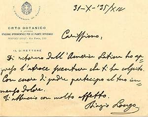 Biglietto autografo firmato del botanico Biagio Longo.