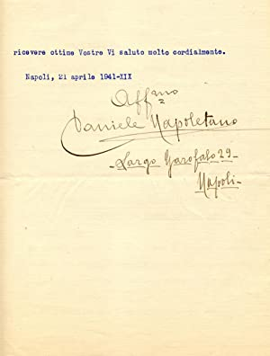 Lettera dattiloscritta a firma autografa del compositore Daniele Napoletano (Saviano di Nola, 1872-...