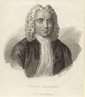 Incisione raffigurante lo storico e giureconsulto Pietro Giannone (Ischitella, 1676-1748).
