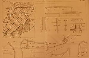 """PROSCIUGAMENTO DEL LAGO DI HAARLEM. Tavola illustrativa tratta da """"Giornale del Genio Civile&..."""