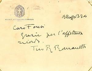 Biglietto autografo firmato dello scultore Romano Romanelli.