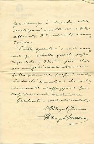 Lettera autografa firmata dell'Ingegner Ulderigo Somma (Pistoia, 1875-1954).