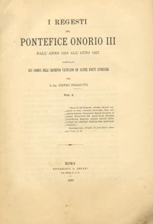 I REGESTI DEL PONTEFICE ONORIO III DALL'ANNO: Honorius III.