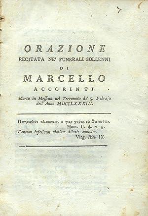 Orazione recitata ne' funerali sollenni di Marcello: JEROCADES Antonio.