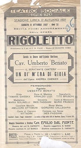 """Locandina per una esecuzione di """"Rigoletto"""" di Giuseppe Verdi al Teatro Sociale di ..."""