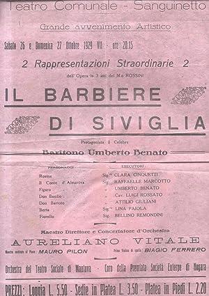 """Locandina per una esecuzione de """"Il Barbiere di Siviglia"""" di Gioacchino Rossini al Teatro..."""