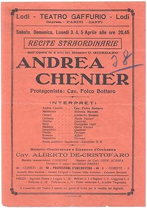 """Locandina per una esecuzione di """"Andrea Chenier"""" di Umberto Giordano al Teatro Gaffurio ..."""