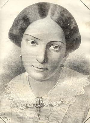 Incisione raffigurante S.M. la Regina Maria Adelaide di Savoia (1822-1855), moglie di Vittorio ...