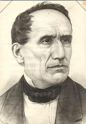 Incisione raffigurante Angelo Brofferio, letterato (Castelnuovo Calcea (AT), 1802-1866).