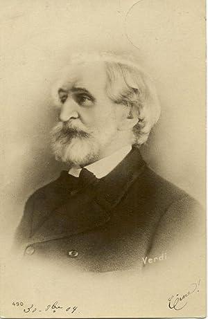 Cartolina postale illustrata raffigurante il musicista Giuseppe Verdi a mezzobusto. N°490.