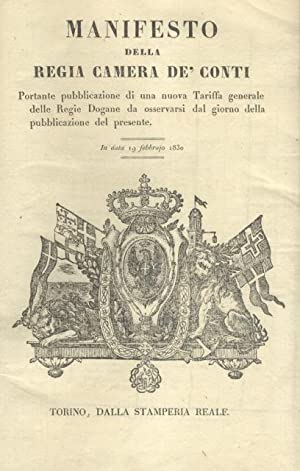 Raccolta rilegata di 43 Editti legislativi promulgati da Carlo Felice e Carlo Alberto di Savoia nel...