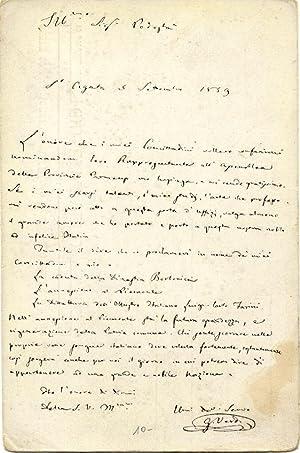 Cartolina postale raffigurante il facsimile di una lettera del musicista Giuseppe Verdi, pubblicata...
