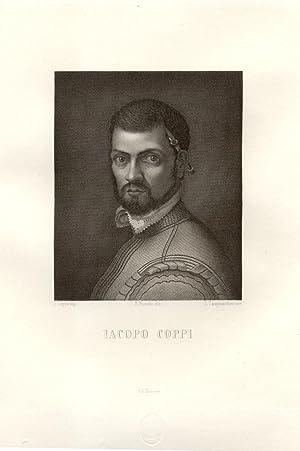 Incisione ottocentesca raffigurante il pittore cinquecentesco fiorentino Iacopo Coppi. XIX secolo.
