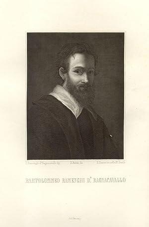 Incisione ottocentesca raffigurante il pittore Bartolomeo Ramenghi detto il Bagnacavallo (1484-1542...
