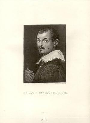 Incisione raffigurante il pittore Giovanni Manozzi da San Giovanni (Valdarno, 1592-1636) impressa ...
